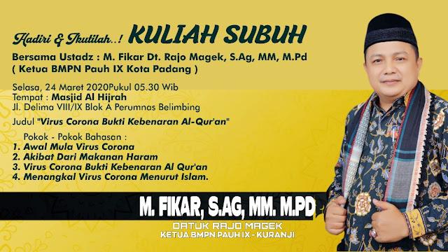 Besok Berikan Kuliah Subuh di Masjid Al Hijrah, M Fikar: Semoga Nagari Kita Dijauhkan dari Wabah Corona