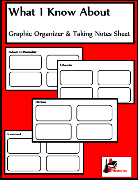 Free download - graphic organizer about what students know about any given topic. Download from Raki's Rad Resources.