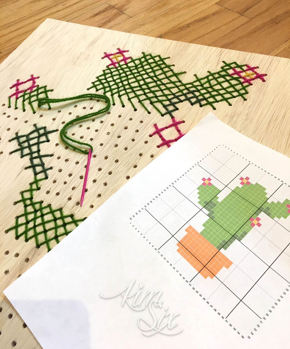Cross stitching in plywood