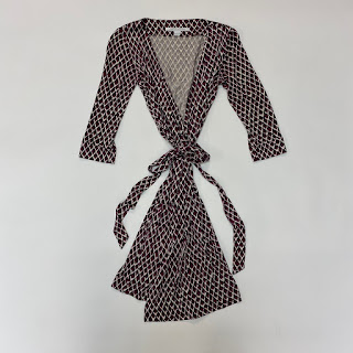 Diane Von Fürstenberg Purple/Black/White Wrap Dress