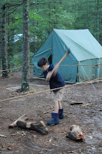 Photo: The axe yard was a popular activity --- helps feed the fire (we're Boy Scouts because of fire..and knives..and guns)