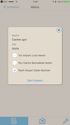 Offline-Geocaching mit Looking4Cache: Screenshot Listenoptionen einstellen