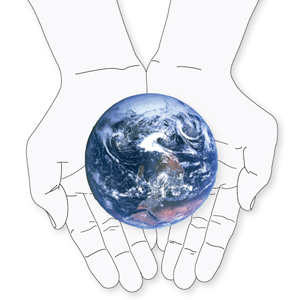 drawing of the earth held in outstretched hands