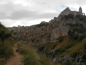 Photo: Light playing off the rocks, Matera cliffs.