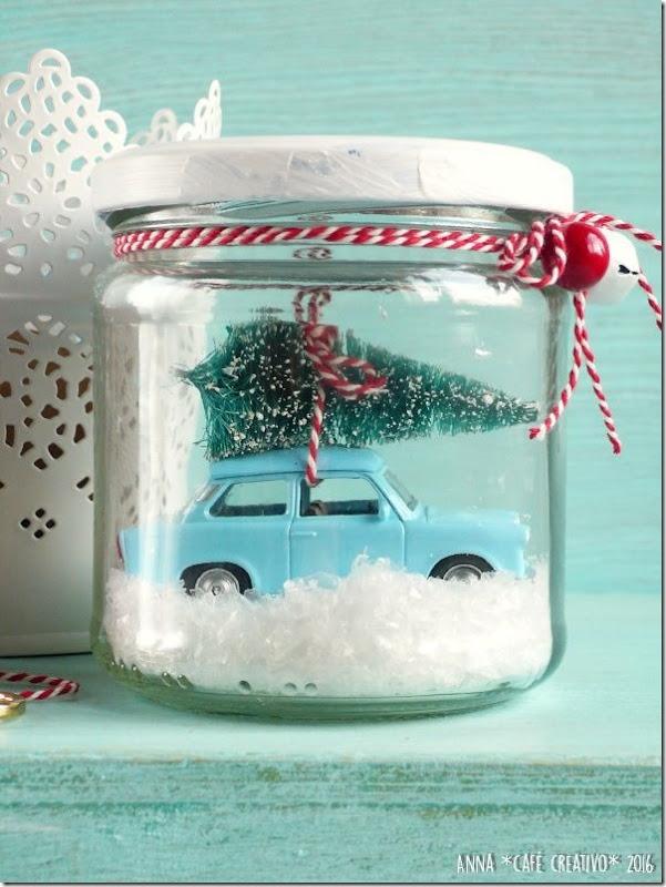 Automobilina in barattolo - Palla di Neve Natalizia Fai Da Te