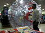 As part of the Re-Grand Opening, Sports Authority had these inflatable hamster balls for kids to play in. They kept rolling past my table.