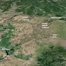 Wide coverage of the Ice Age Floods Regions in the Pacific Northwest (GoogleEarth views)