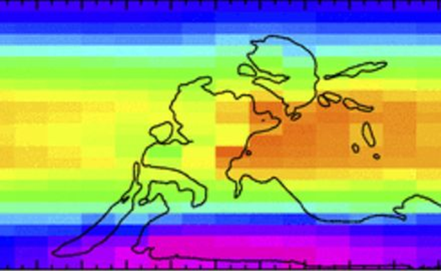 Annual mean temperature map for latest-Carboniferous temperatures for 150 ppm of CO2 and a cold orbital configuration, with reconstructed contours of continents. Graphic: Feulner, 2017 / PNAS