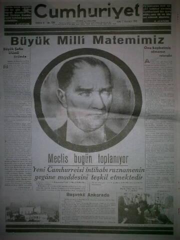11 Kasım 1938 tarihli Cumhuriyet gazetesi
