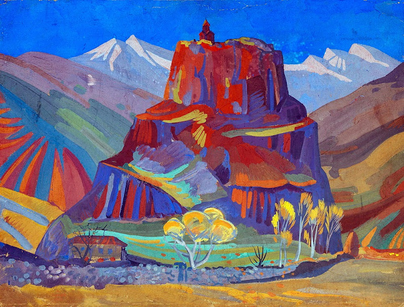 Martiros Saryan - View of Bjini Fortress, Armenia, 1923