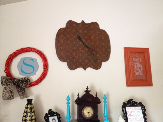 decorating a large wall with a clock