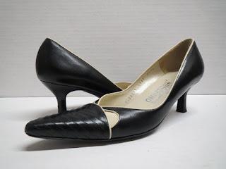 Salvatore Ferragamo Black and White Kitten Heels