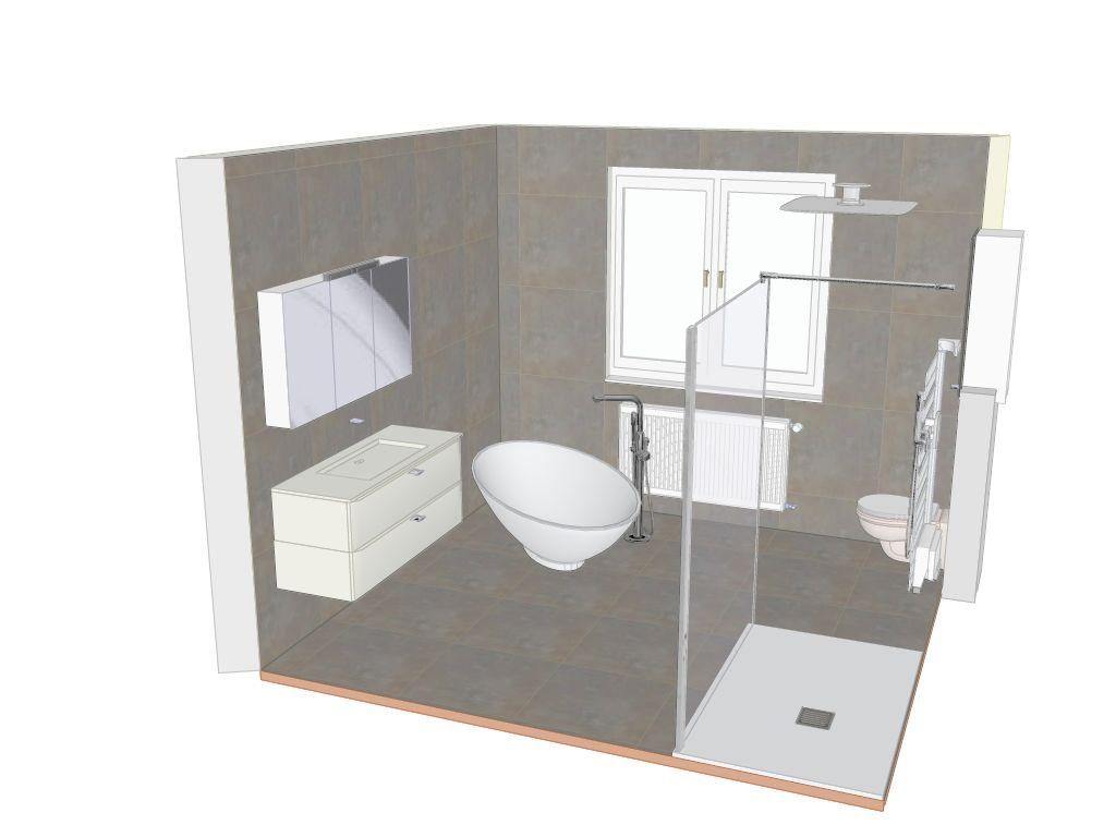 R alisation r novation d 39 une chambre en salle de bain avec for Seche serviette sous fenetre