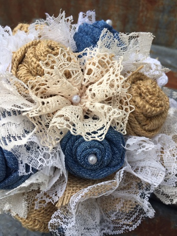 rustic wedding flowers with denim and lace