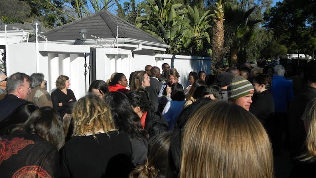 Waiting to enter the Ambassador's residence