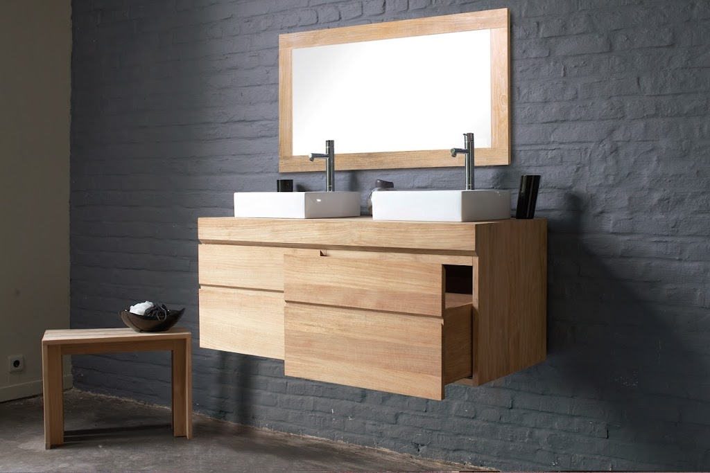 couleur mur salle de bain grise et bois. Black Bedroom Furniture Sets. Home Design Ideas