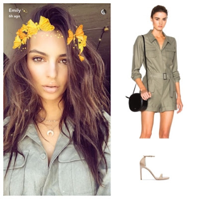 Emily Ratajkowski in Olive Frame Denim Silk Romper Playsuit