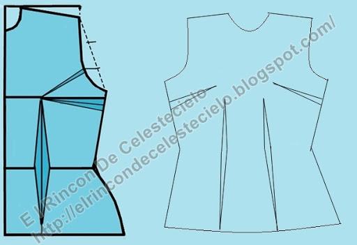 Patrón básico delantero de blusa y dibujo de delantero de blusa básica con pinzas