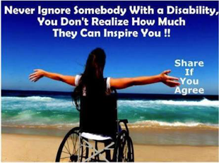 photo featuring woman in a wheelchair, facing the sea. text reads: 'never ignore someone with a disability, you don't realise how much they can inspire you. share if you agree'.