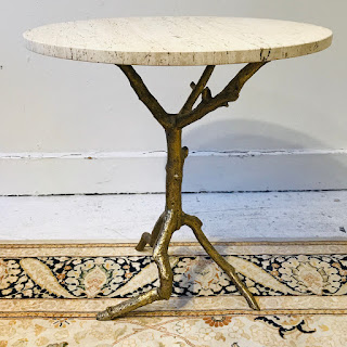 Travertine Top Twig Base Accent Table