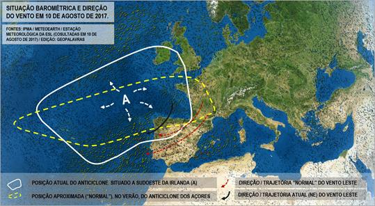 Situação barométrica e direção de vento em 10 de agosto 2017