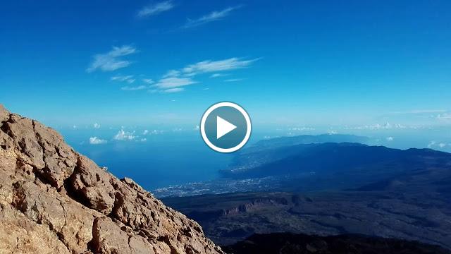 360º comenzando por el NE en el Pico del Teide, mañana y día perfecto. Vemos en 1er lugar la isla de Gran Canaria seguida por La Gomera
