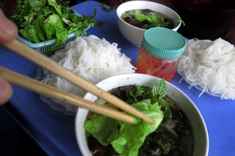 Fixing a bowl of bun cha