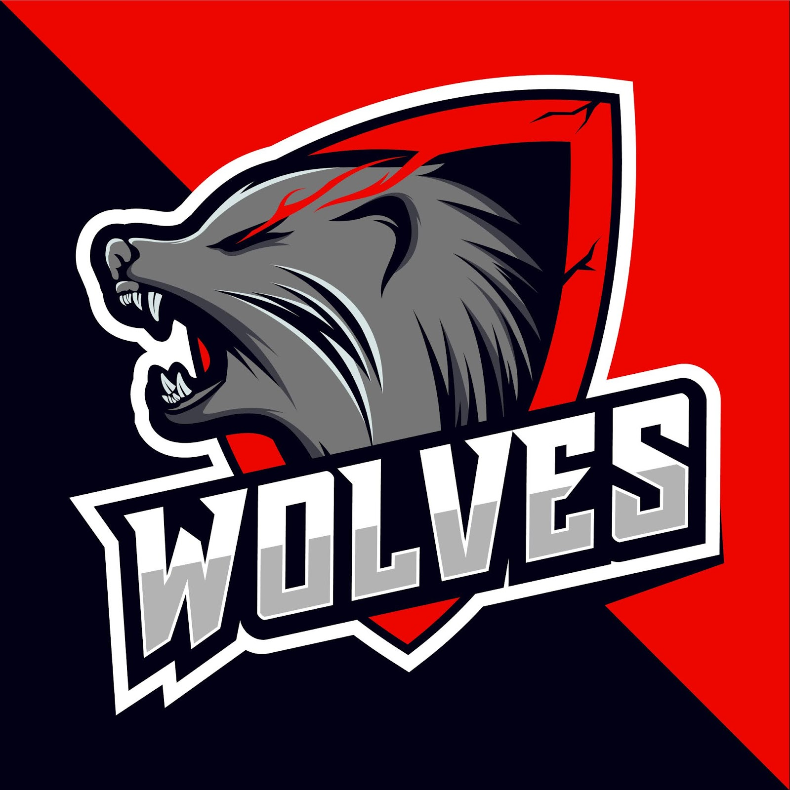 Wolves Head Mascot Esport Logo Design Free Download Vector CDR, AI, EPS and PNG Formats