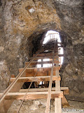 Looking up the incline at a headframe. Part of this headframe is underground!