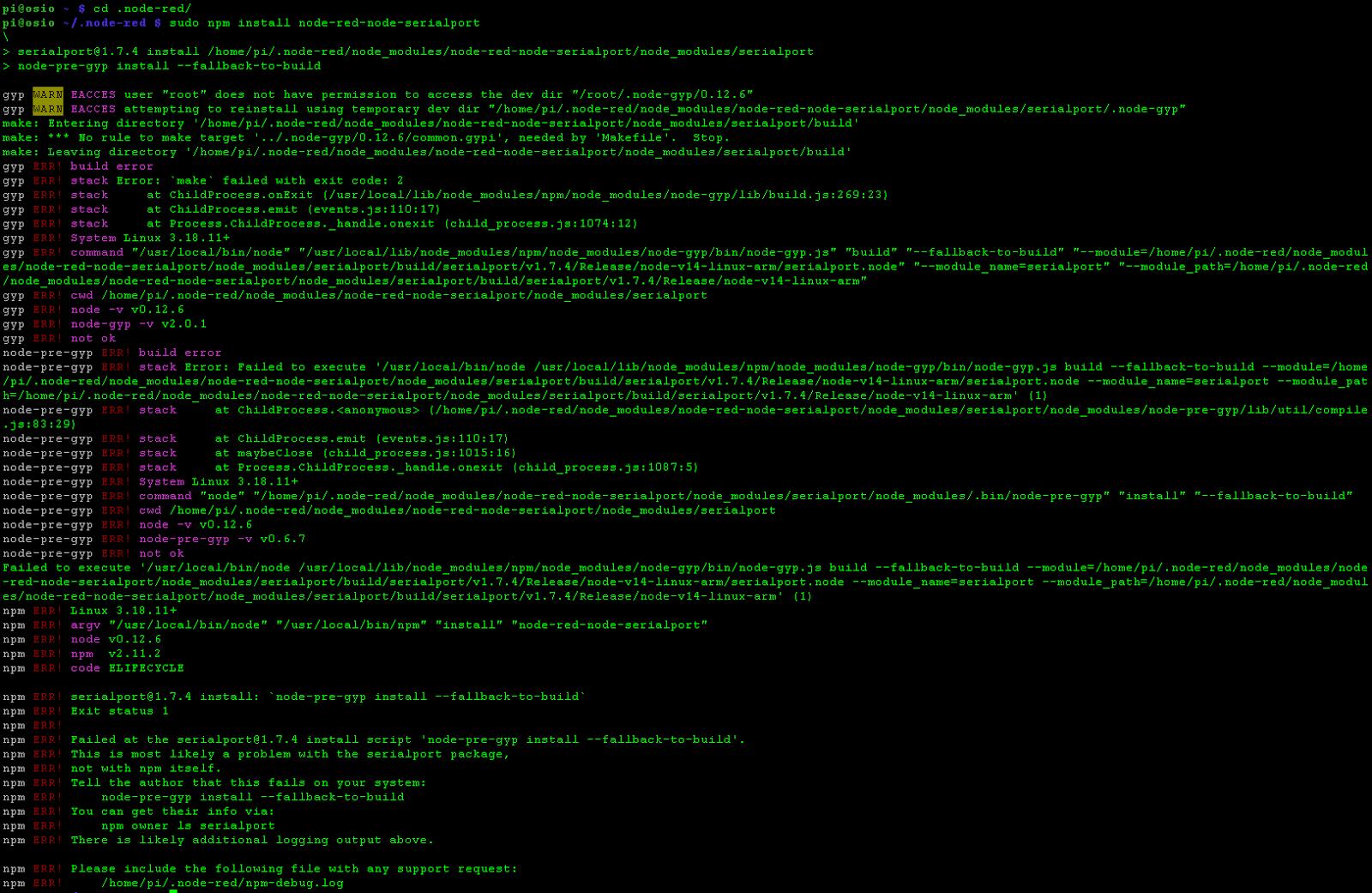failing to install serial node on Raspberry Pi A/B/A+ - Google Groups
