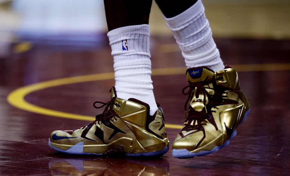 best website a253d f1138 ... LBJ Wears Shiny Nike LeBron 12 Cavs Gold Finals PE in Game 6 ...