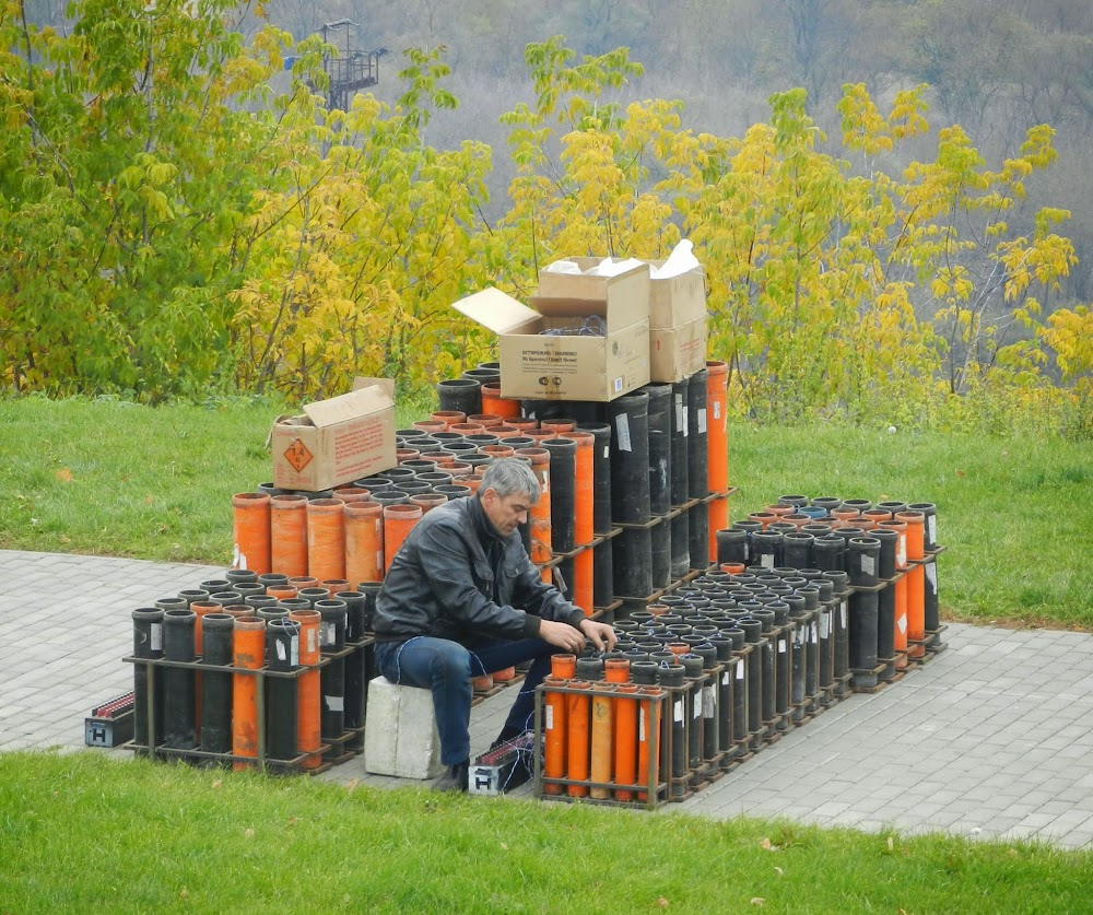 festival dude setting up for tonight's fireworks extravaganzaaa!