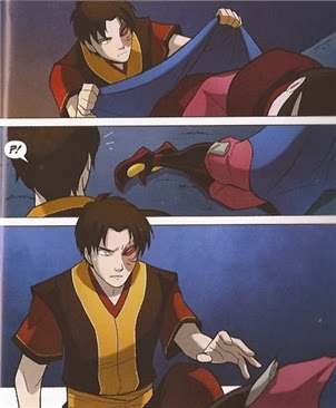 Zuko covers a sleeping Azula with a blanket
