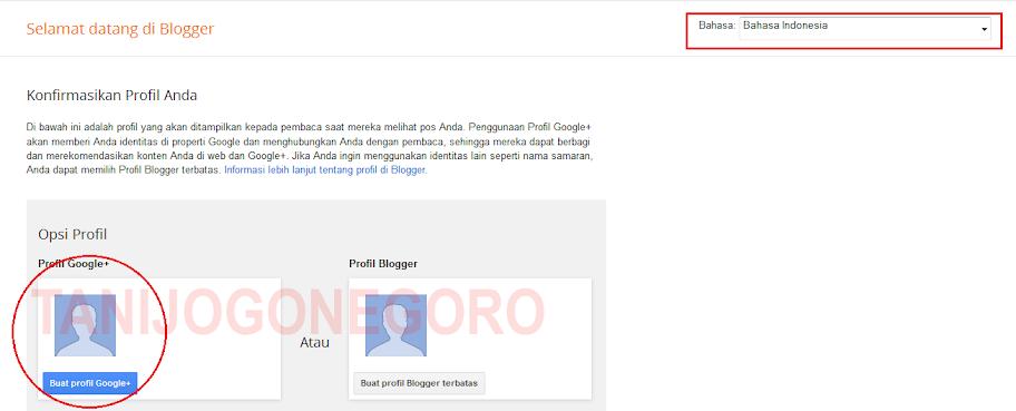 Halaman Pertama Cara Membuat Blog Gratis di Blogger
