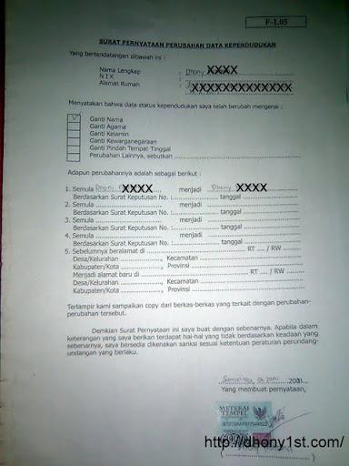 contoh surat permohonan ganti nama