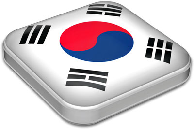 Flag of South Korea with metallic square frame