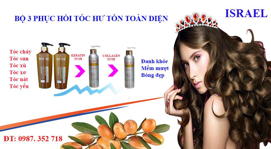 Bộ ba phục hồi tóc toàn diện keratin, collagen