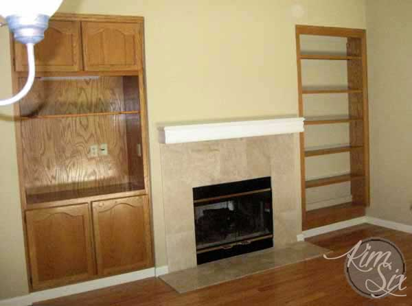 Oak built in arounds fireplace