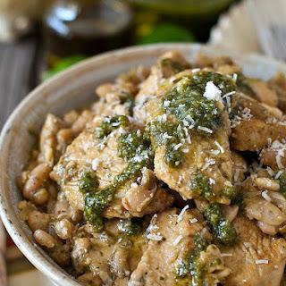 Pesto Chicken over Sautéed Cannellini Beans
