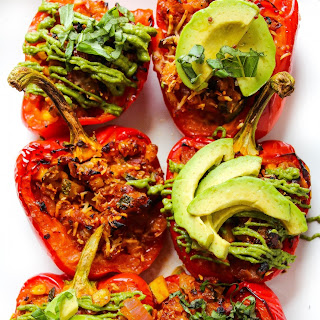 Honey Lime Chicken Enchilada Stuffed Peppers.