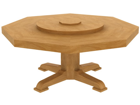 "72"" Diameter, 8 Sided Savoy Table with Lazy Susan"