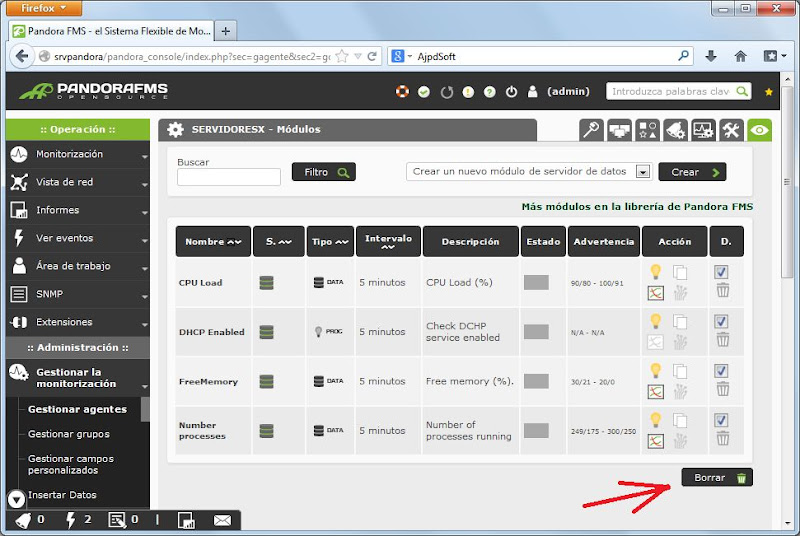 Configurar agente servidor VMware ESXi en Pandora FMS