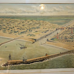 old painting of the early coastline of IJmuiden in Velsen, Noord Holland, Netherlands