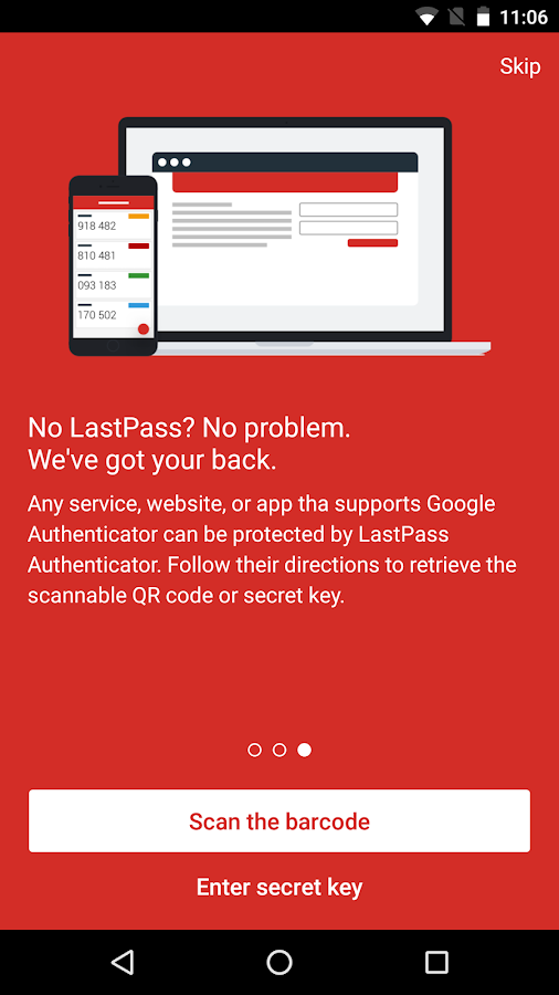 LastPass Authenticator– skärmdump