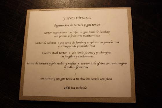 Jueves Tártaros del Restaurante Acontraluz de Barcelona