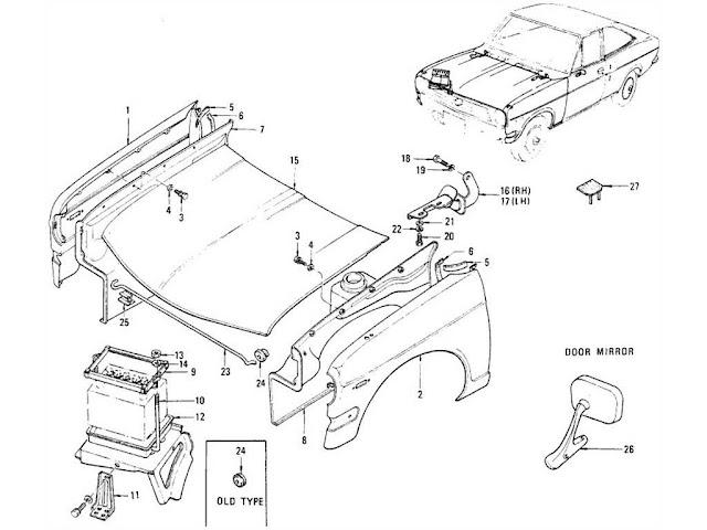 Datsun 1200 Front Fender, Hood Ledge, Hood & Door Mirror