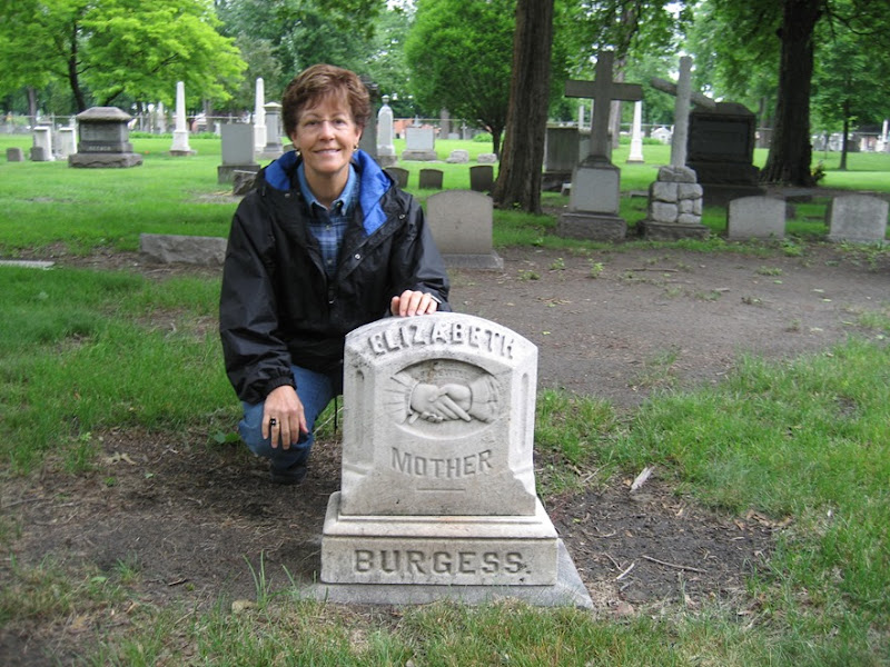 Diane with her G G G Grandmother Elizabeth BURGESS' headstone-June 2007