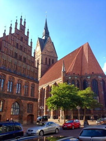 Picture of the Marktkirche tower in Hannover, Germany.