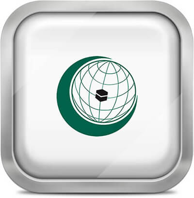 Organisation of Islamic Cooperation square flag with metallic frame