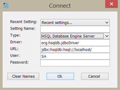 hsqldb connectar servidor